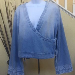 Cloth & Stone Chambray Wrap Top